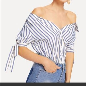 New, never worn Shein off the shoulder button down